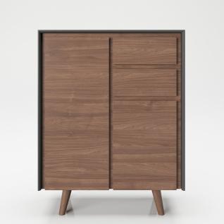 """PLAYBOY - Hochkommode """" VICTORIA"""" mit 2 Türen und 2 Schubladen, sanft-schliessend, Walnuss/Grau, Retro-Design"""
