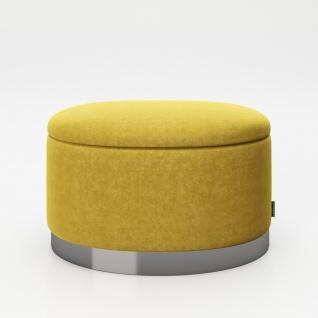 """PLAYBOY - ovaler Pouf """" ROSANNE"""" gepolsterter Sitzhocker mit Stauraum, Samtstoff in Gelb, Metallfuss, Retro-Design"""