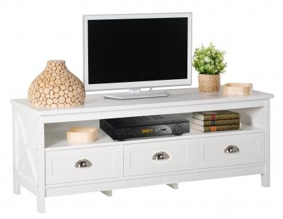 Country - Lowboard, TV Möbel, Mediamöbel mit 1 breiten Ablage und 3 Schubladen, weiss lackiert, Metallgriffe, romantischer Landhausstil