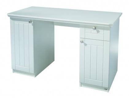 Florenz - Schreibtisch mit 2 Türen, 2 Böden und 1 Schublade, mit Soft-Close, gefräste Fronten, weiss