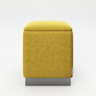 """PLAYBOY - eckiger Pouf """" BETTY"""" gepolsterter Sitzhocker mit Stauraum, Samtstoff in Gelb, dunkler Metallfuss, Retro-Design"""