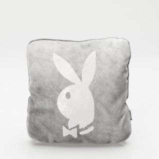 """PLAYBOY - Dekokissen """" ELLEN"""" mit Samtüberzug in Grau und gold/weissen Wendepailletten, mit Bunny, inkl Füllung"""
