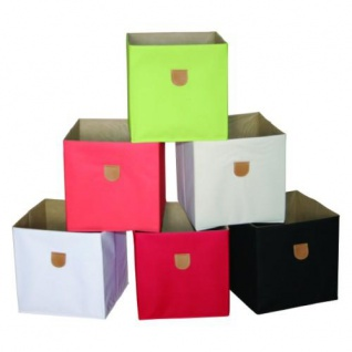 Stor' It - 2 faltbare Boxen aus Canvasstoff mit PU-Leder-Lasche, 34x34x34cm, passend für die Regale der Serien Fortuna, Prana und Caro