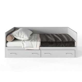 Miami Tagesbett mit 2 Schubladen, ausziehbar 90-180x200, Autometallic Lackierung, chromfarbene Griffe, Füsse und Logo aus hochwertigem Autoschriftzug, in hellgrau
