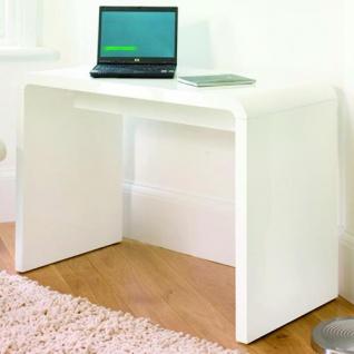 Prana - moderner Schreibtisch, Schminktisch, Bastelltisch, abgerundete Kanten, weiss hochglanz - Vorschau 3