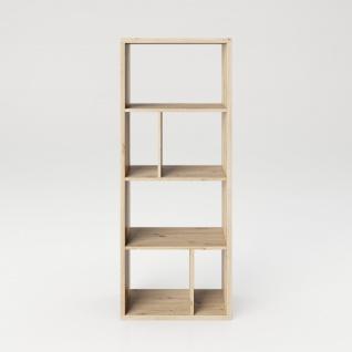 Fortuna - Bücherregal, Büroregal, Raumteiler mit 6 Fächern, asymmetrische Aufteilung