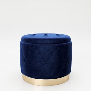 """PLAYBOY - Pouf """" LIZ"""" gepolsterter Sitzhocker mit Stauraum, Samtstoff in Blau und Chesterfield-Optik, goldener Metallfuss, Retro-Design"""