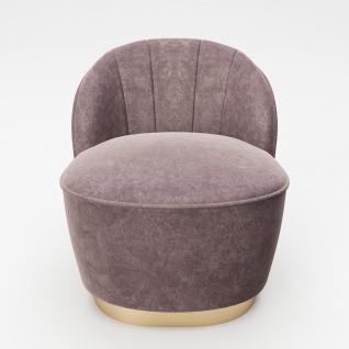 """PLAYBOY - Sessel """" STELLA"""" gepolsterter Cocktail-Sessel mit Rückenlehne, Samtstoff in Rosa mit goldenem Metallfuss, Retro-Design"""