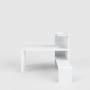 Prana - Schreibtisch-Lowboard-Kombi, Eckschreibtisch, Ecklösung, abgerundete Kanten, weiss hochglanz - Vorschau 1