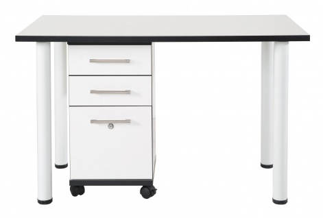 Chicago - höhenverstellbarer Schreibtischfuss aus Metall, 2er Set, weiss eloxiert mit schwarzem Kunststoffgewinde - Vorschau 4