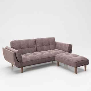 """PLAYBOY - SET Sofa mit Fussablage """" SCARLETT"""" gepolsterte Couch mit Bettfunktion, Samtstoff in Rosa mit Massivholzfüsse, Retro-Design"""