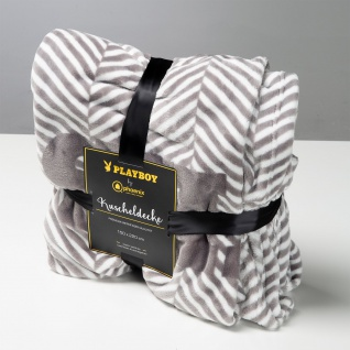"""PLAYBOY - Kuscheldecke """" JACKIE"""", luxuriöse, weiche Decke, Grau bedruckt, Premium-Microfaser"""