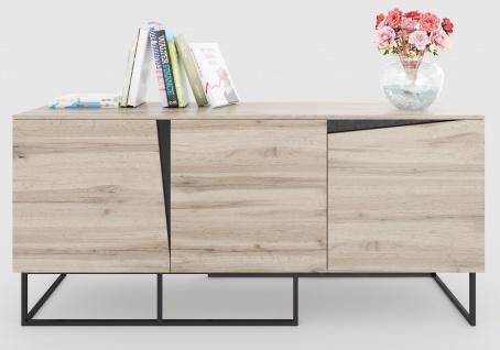 Carv - Sideboard mit 3 Türen, Push-Open-Beschläge, Wild Oak Holzdecor, Metallsockel, modernes Industrial-Design