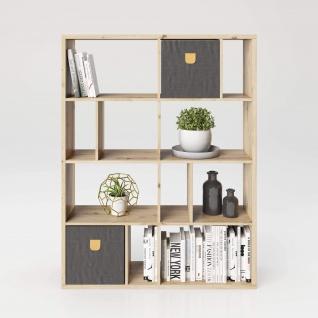 Fortuna - SET Regal mit 12 Fächern inkl. Stauraumboxen Bücherregal, Büroregal, Raumteiler, Fächer in asymmetrischer Aufteilung