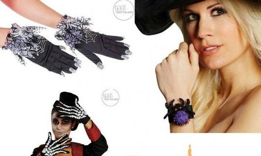 Mottoland Halloween Kostüm Zubehör Skelett-, Spinnen - Handschuhe, Klack Armband