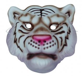 Mottoland 64032 - Weißer Tiger Maske, mit Gummiband, Kinder Kostüm Zubehör,