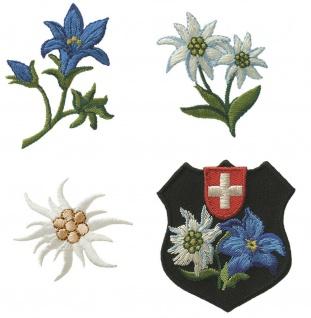 Mono Quick 0648x Edelweiß Enzian Schweizer Wappen, Applikation, Bügelbild, Patch