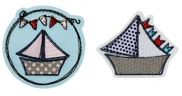 Mono Quick 0414x Segelboot Rosa oder Blau, Applikation Bügelbild Patch Aufnäher