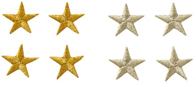 Mono Quick 0632x - Sterne 4er Set Applikation, Bügelbild, Patch Silber oder Gold