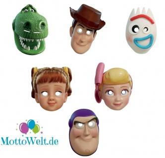 Rubies Toy Story 4 Card Mask - Pappmaske, Woody, Buzz, Gabby Rex, Bo Peep, Forky