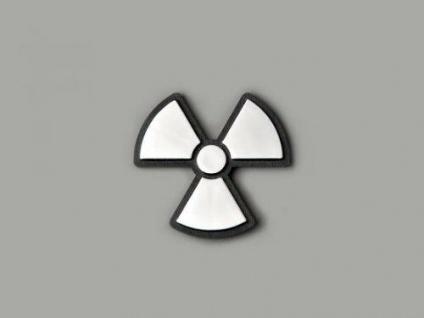 Aufkleber Chrom 3D Auto * Motiv Radioactiv II 52x52 mm * chrom * FK-Automotive