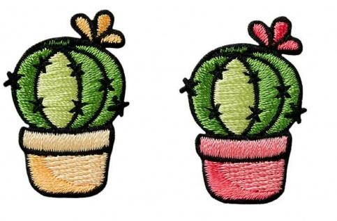 Mono Quick 0414x Kaktus rosa oder gelb Applikation, Bügelbild Patch, Kakteen