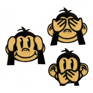 """16137 Emoji Affen Flicken 3er Set, Applikation Aufbügeln """" Drei weise Affen"""