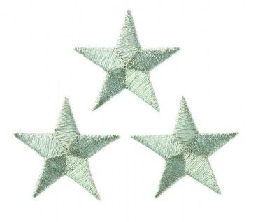 Mono Quick 08342 3er Sterne, Silber Applikation, Bügelbild, Patch. 30mm