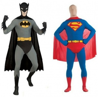 Rubies DC 2nd Skin Jumpsuit, Batman oder Superman - Ganzkörper Overall Jumpsuit