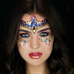 Rubies 3H1804 - Wonder Woman Face Jewels Set, Selbstklebend, DC Glitzersteine