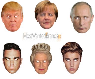 Rubies Card Mask * Merkel, Biber, Queen, Trump, Putin, Robbie * Maske aus Pappe