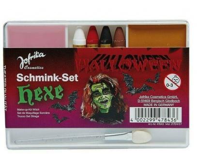 Jofrika Cosmetics 747843 - Schmink-Set Hexe, Applikator Schminke Stifte AV!