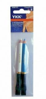 YKK 0086101 Schneiderkreide Stifte blau/weiß, 2 Stück, Kreidestifte, Markierer