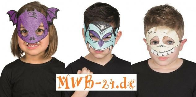 Mottoland Kindermaske - Glittermaske - Fledermaus Totenkopf Vampir - Glitzer