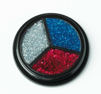 Jofrika Cosmetics 712105 - Trio Glitter silber-rot-blau - Glitzer Body make up