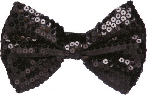Paillettenfliege * in schwarz * ca. 15 cm * Fliege * Glitzer * Mottoland 6331402