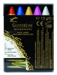 Jofrika Cosmetics 750758 - 5 Glitterstifte bunt mit Spitzer, Schminkstifte Set