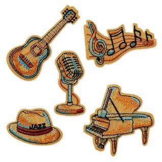 MQ 0606x Vintage Musik Instrumente Bügelbilder, Gitarre, Noten, Jazz Hut, Piano