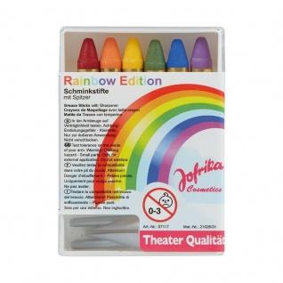 Jofrika Cosmetics 707117 - Schminkstifte Regenbogen mit Spitzer, 6 Stifte