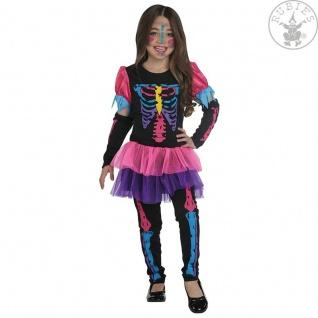 Rubies 12110 - Neonskelett, Halloween Mädchen Kostüm, Skelett Gr. 116-164
