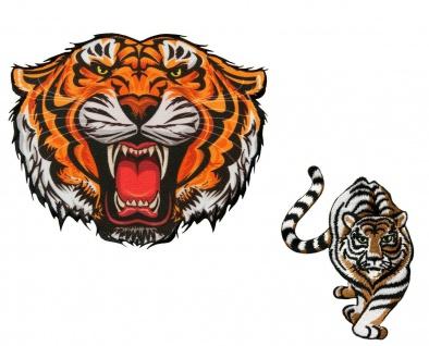 MQ Tiger Applikationen, Bügelbild - Aufnäher Aufbügler Patches, Maxi Tigerkopf