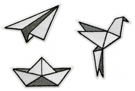 Mono Quick 0433x - Origami Applikation, Bügelbild, Patch, Vogel Boot Flugzeug