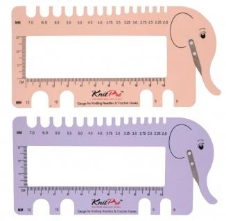 KnitPro 1099x Nadelmaß mit Garn Cutter und Lineal - Elefant lila, rosa 2, 0 - 12mm