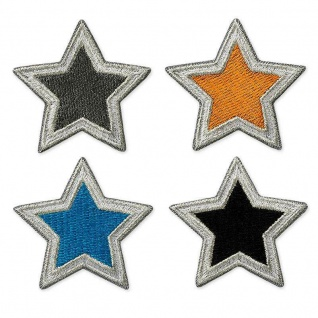 Mono Quick 0668x - Stern Applikation, Bügelbild, Patch, schwarz grau blau orange