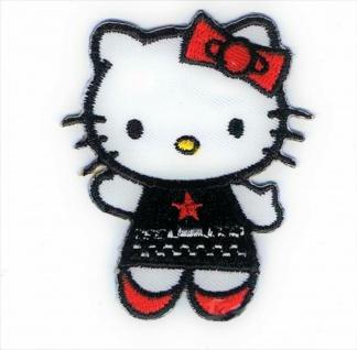 Mono Quick 14256 - Hello Kitty Gothic Applikation, Bügelbild, Patch, schwarz rot