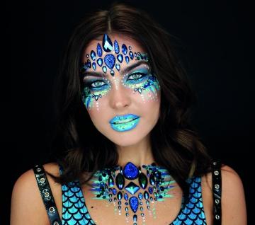 Rubies 3H1802 - Mera Mermaid Face Jewels Set, Selbstklebend, DC Glitzersteine