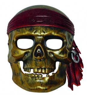 Mottoland 64020 - Piratenmaske, Piraten Skelett Schädel in SILBER, Polycarbonat