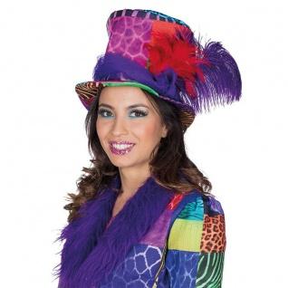 Mottoland 414449 - Multi-Patch * Kostüm Zubehör * Hut, Zylinder, Feder Patchwork