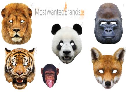 Rubies Card Mask * Gorilla, Tiger, Panda, Löwe, Fuchs, Affe * Maske aus Pappe