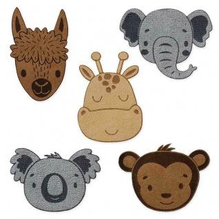 Mono Quick 0626x Tier Applikation, Bügelbild, Patch, Affe Giraffe Elefant Alpaka